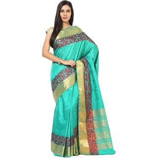 Sofi Women's Jacquard Green Tussar jacquard Sari