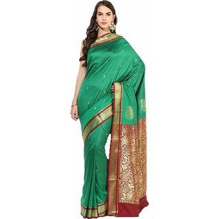 Sofi Women's Solid Green Tussar silk Sari