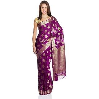 Sofi Women's Solid Purple Crepe Sari