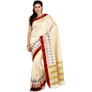 Sofi Women's Solid Beige Art Silk Sari
