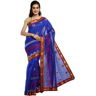 Sofi Women's Blue Chanderi Silk Sari