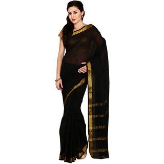 Sofi Women's Solid Black Mysore cotton Sari