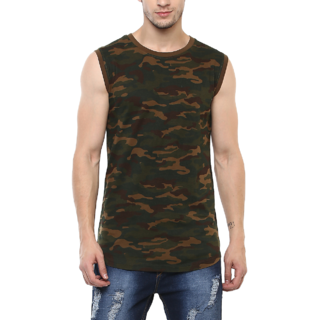 Urbano Fashion Men's Olive,Green Sleeveless T-shirt