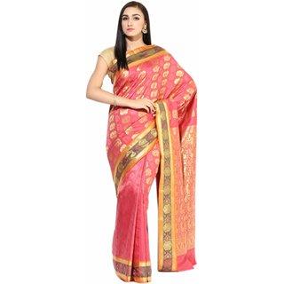 Sofi Women's Jaquard Pink Crepe Sari