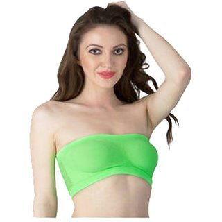 Gking Green Stretchable Tube Bra For Women Size-M
