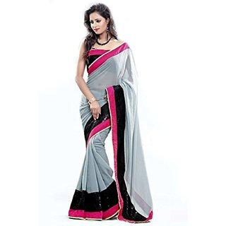 Sofi Women's Grey Chiffon Sari