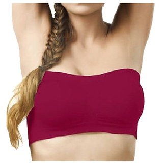 Gking Purple Non Wired Seamless Tube Bra for Women Size-L