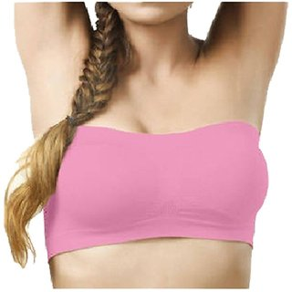 Pink Wirefree Yoga Tube Bra for Women Size-XL
