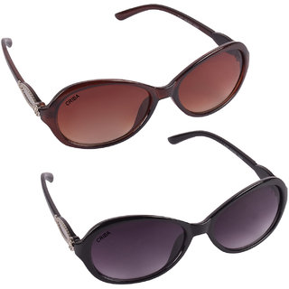 Aligatorr Combo Of 2 Cat Eye Ladies Sunglassesldy greybrn ladies coCRLK100