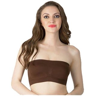 Choco color Wirefree Yoga Tube Bra for Women Size-XL (Below to 40 size)