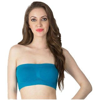 Gking Blue Strapless Tube Bra For women Size-XL