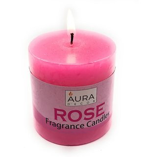 AuraDecor Pack of 1 Rose Fragrance Pillar 33 inch Candle Each
