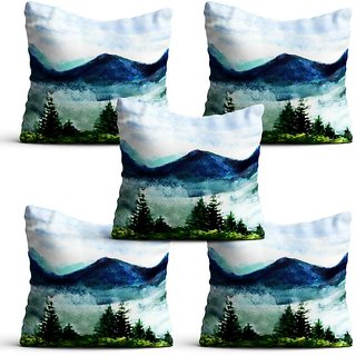 Pratibimb- Set of 5 Mountains View Theme Design printed Cushion Covers