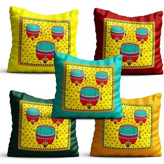 Pratibimb- Set of 5 beautiful Abstract Design printed Cushion Covers