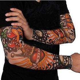 Wearable Arm Tattoo Sleeves For Style / Biking Sun Protection - 2 pair