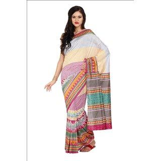 Sofi Women's Printed White Art Silk Sari