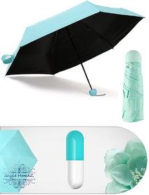 Style Homez Designer Ultra Mini UV Coated 4-Fold Travel Capsule Umbrella, 100 cm Paled Turquoise Color