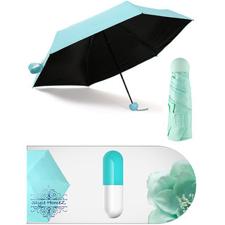 Style Homez Designer Ultra Mini UV Coated 4-Fold Travel Capsule Umbrella, 100 cm Paled Turquoise Color