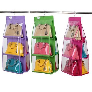 6 Pocket Large Clear Purse Handbag Hanging Storage Organizer