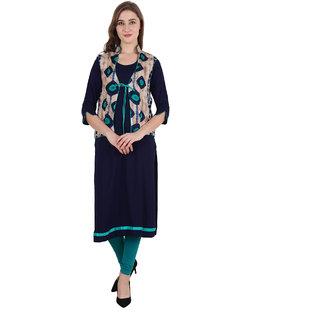 Women Couture Women's Blue & Green Rayon Kurti With Jacket Set