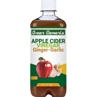 Green Elements - Apple Cider Vinegar  Ginger-Garlic (Raw, Unprocessed and Unrefined) with Mother Vinegar, 500ml