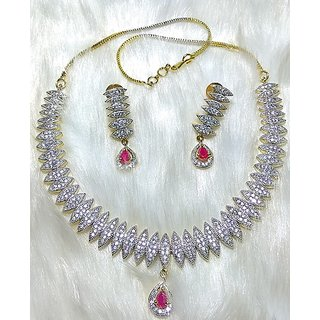 Rhodium Plated American Diamond Necklaces Set With 1 Year Guaranteed Plating Red/Full White Stone, Partywear AD necklces