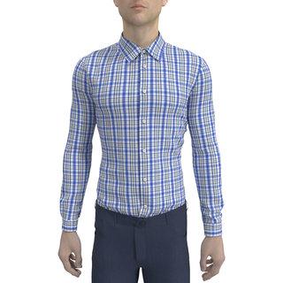 Mens Checkered Slim Fit Cotton Formal Shirt
