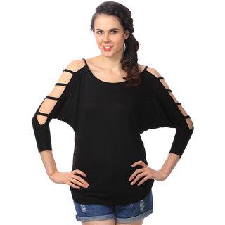 Aashish Garments - Black Cold Shoulder Cotton Women Top