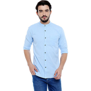 Roller Fashions Men's Solid Casual Light Blue Shirt