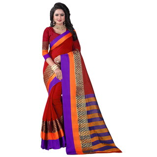 B Online Mart Red Block Print Jacquard Saree With Blouse