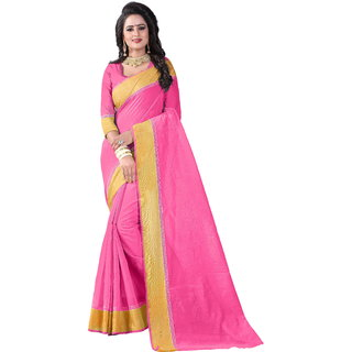 B Online Mart Pink Block Print Cotton Saree With Blouse