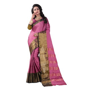 B Online Mart Pink Block Print Cotton Saree With Blouse