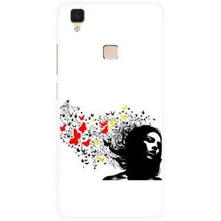 Snooky Printed Butterfly Girl Mobile Back Cover For Vivo V3 - Multi
