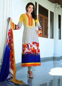 Yellowmist Jinaam Floral Cotton Long Length Semi Stitched 100% original