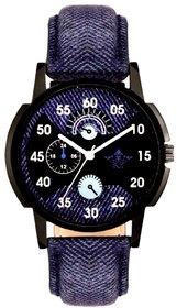 Attractive Blue Round Dial Quartz Analogue Wrist Watch