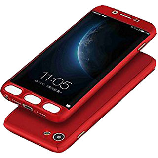 iPaky 360 Protective Body Case cover for Oppo F1S (Red) with Temepered Glass