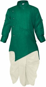 Tumble Green Full Sleeves Kurta  DhotiSet
