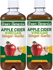 Green Elements - Apple Cider Vinegar  Ginger-Garlic (Raw, Unprocessed and Unrefined) with Mother Vinegar, 1000ml (Pack of 2)