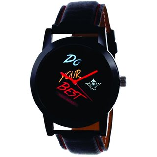 SCK By Vivah Mart Round Dial Black Leather Strap Analog Watch For Men's