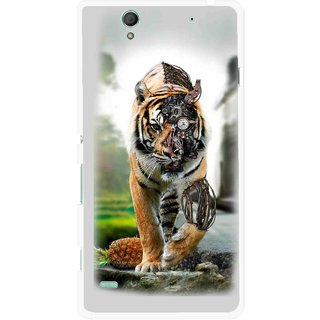 Snooky Printed Mechanical Lion Mobile Back Cover For Sony Xperia C4 - Grey