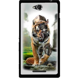 Snooky Printed Mechanical Lion Mobile Back Cover For Sony Xperia C - Grey
