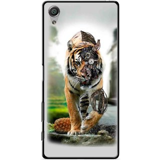 Snooky Printed Mechanical Lion Mobile Back Cover For Sony Xperia X - Grey
