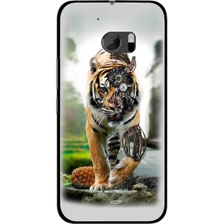 Snooky Printed Mechanical Lion Mobile Back Cover For HTC One M10 - Grey