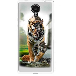 Snooky Printed Mechanical Lion Mobile Back Cover For Gionee Elife E7 - Grey