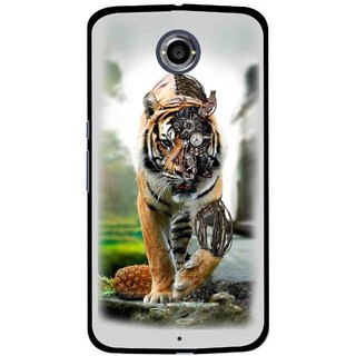 Snooky Printed Mechanical Lion Mobile Back Cover For Motorola Nexus 6 - Grey