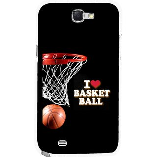 Snooky Printed Love Basket Ball Mobile Back Cover For Samsung Galaxy Note 2 - Multicolour