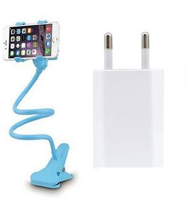 Combo of Lazy Stand and USB Charger (Assorted Colors)