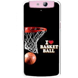 Snooky Printed Love Basket Ball Mobile Back Cover For Oppo N1 - Multicolour