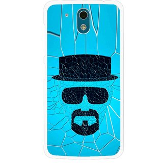 Snooky Printed Beard Man Mobile Back Cover For HTC Desire 326G - Blue