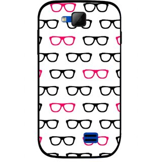 Snooky Printed Spectacles Mobile Back Cover For Micromax Canvas Fun A63 - Multi